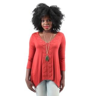 Hadari Women's Casual Long Sleeve Embroidered Rust Blouse Top