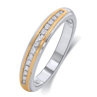 10k Yellow and White Gold Diamond Accent Wedding Band