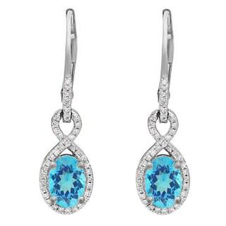 10k Gold 1 5/8ct TGW Oval Aquamarine and Round White Diamond Dangling Drop Earrings (I-J, I2-I3)