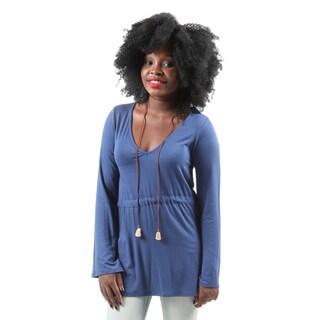 Hadari Women's Casual Round Neck Loose Bell Sleeve Blouse Shirt Top