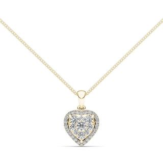 De Couer 14K Yellow Gold 1/2ct TDW Diamond Cluster Necklace (H-I, I2)