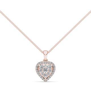 De Couer 14K Rose Gold 1/2ct TDW Diamond Cluster Necklace (H-I, I2)
