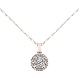 De Couer 14K Rose Gold 1/2ct TDW Diamond Cluster Necklace - Pink