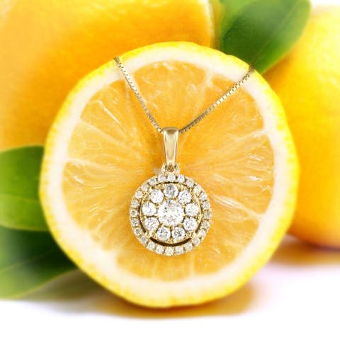 De Couer IGI Certified 14K Yellow Gold 1/2ct TDW Diamond Cluster Necklace