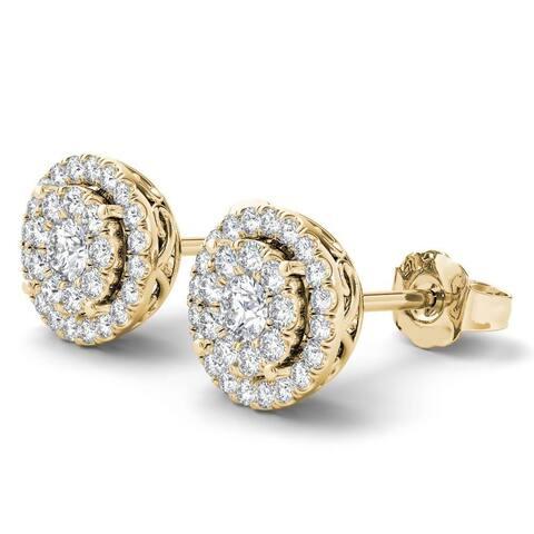 De Couer IGI Certified 14K Yellow Gold 1/2ct TDW Diamond Cluster Earrings