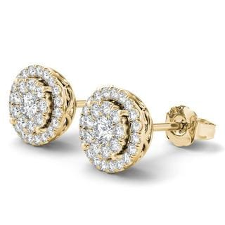 De Couer 14K Yellow Gold 1/2ct TDW Diamond Cluster Earrings (H-I, I2)