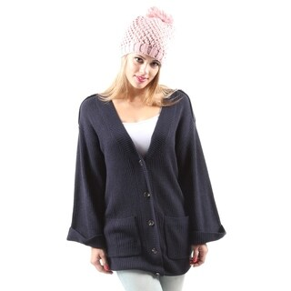 Hadari Women's Casual V-Neck Knitted Warm Button Down Cardigan Sweater