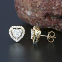De Couer 14K Yellow Gold 1/2ct TDW Diamond Heart Shape Earrings