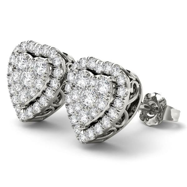 De Couer Igi Certified 14k White Gold 1 2ct Tdw Diamond Heart Shape Earrings