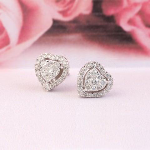 De Couer IGI Certified 14K White Gold 1/2ct TDW Diamond Heart Shape Earrings