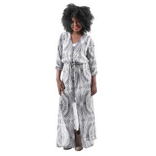 Hadari Women's Fashion Sexy V-Neck Open Slit Boho Print Party Long Dress