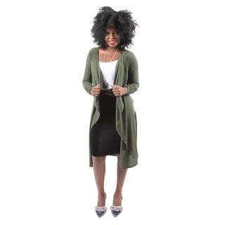 Hadari Women's Casual Fashion Long Sleeve Open Front Long Cardigan