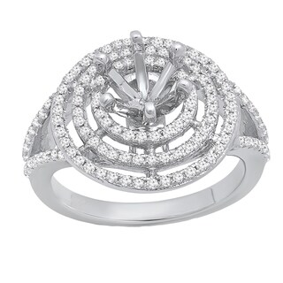 10k Gold 1/3ct TGW Round White Diamond Semi Mount Bridal Engagement Ring (I-J , I1-I2)