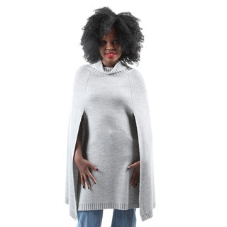 Hadari Women's Casual Fashion Warm Long Turtleneck Cape Knit Sweater