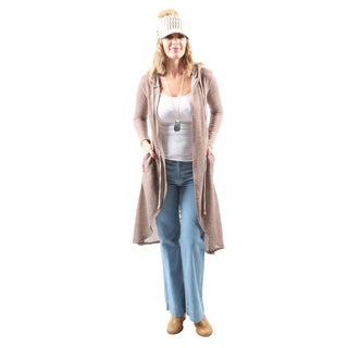 Hadari Women's Casual Lightweight Long Open Front Hooded Cardigan
