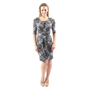 Hadari Women's Casual Knee Length Short Black Midi Dress