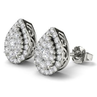 De Couer 14K White Gold 1/2ct TDW Diamond Pear Shape Earrings