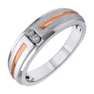 Sterling Silver with Pink Gold Plate Diamond Accent Men's Wedding Ring