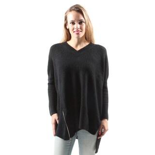 Hadari Women's Casual Fashion Sexy Side Zip Loose Sweater Blouse Top