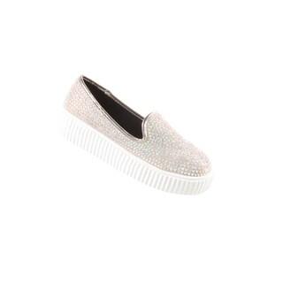 Hadari Women's Casual Studded Slip On Tan Fashion Sneaker Shoes