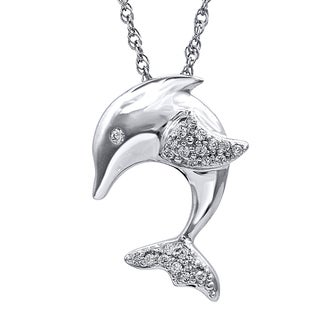 ASPCA Sterling Silver Diamond Accent Tender Voices Dolphin Pendant