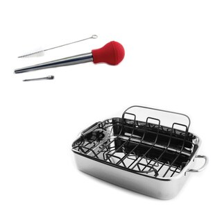 BergHOFF Turkey Baster, Injection Needle, and 15-inch CooknCo Cast Covered Roast Pan 3-piece Roaster Set