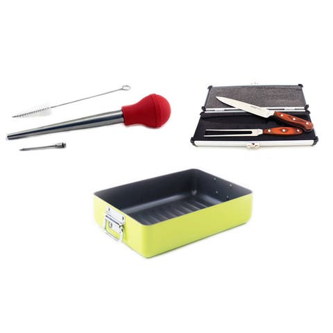 BergHOFF Green Ceramic and Stainless Steel 6-piece Roasting Set