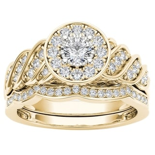 De Couer 14k Yellow Gold 1/2ct TDW Halo Bridal Set (H-I, I2)