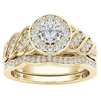 De Couer 14k Yellow Gold 1/2ct TDW Halo Bridal Set