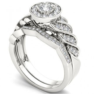 De Couer 14k White Gold 1/2ct TDW Halo Bridal Set (H-I, I2)