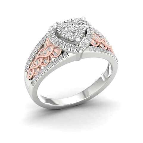 De Couer 10k Pink Two Tone White Gold 1/2ct TDW Diamond Cluster Engagement Ring
