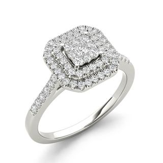 De Couer 10k White Gold 1/3ct TDW Diamond Double Halo Engagement Ring - White H-I