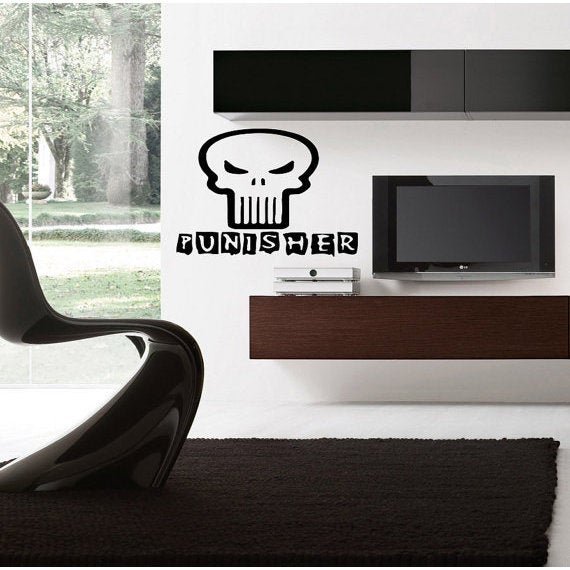 Punisher decal, Punisher Superheroes decal, Superheroes stickers, Superheroes Vinyl Sticker Decal size 33x45 Color Black