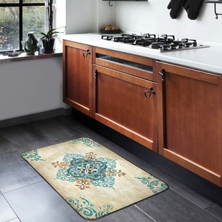 "Home Dynamix Designer Chef Collection Anti-Fatigue Blue/Multicolor Kitchen Mat ( 24"" x 36"")"