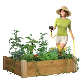 Natural Wood Modular Two-level Raised Garden Bed