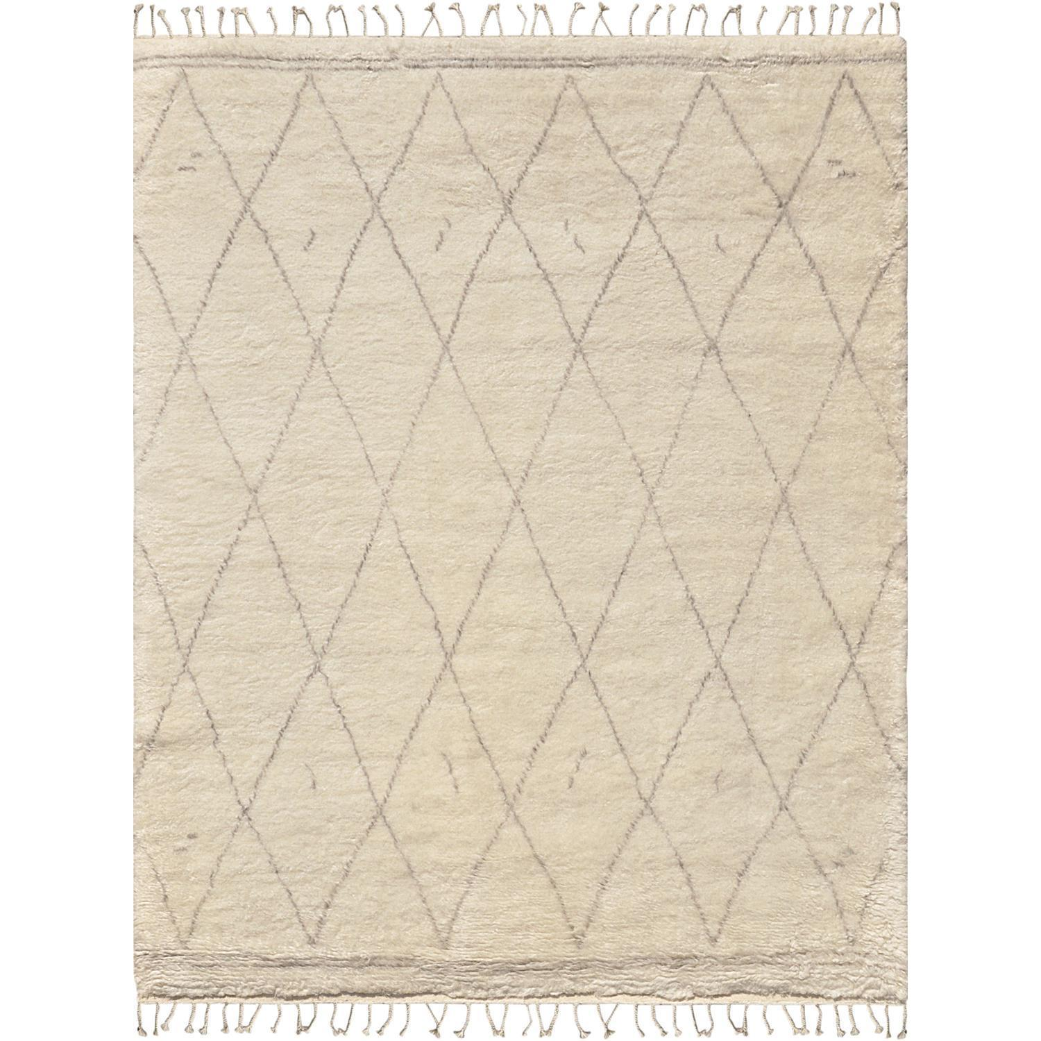 Casablanca Collection Moroccan Ivory/Grey Wool Hand-knotted Area Rug (89 x 119) - 9 x 12 (Ivory - 9 x 12)