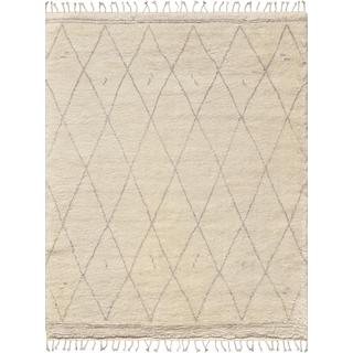 Casablanca Collection Moroccan Ivory/Grey Wool Hand-knotted Area Rug (8'9 x 11'9)