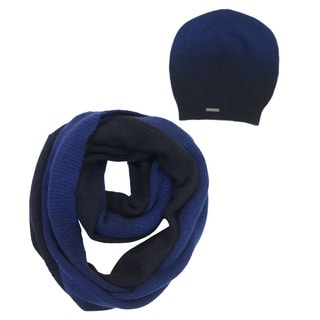 Tahari Blue Ombre Polyester and Wool Hat and Scarf Set