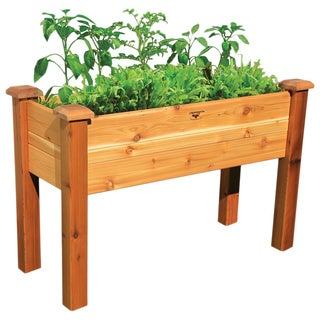 Natural Wood Elevated Garden Bed
