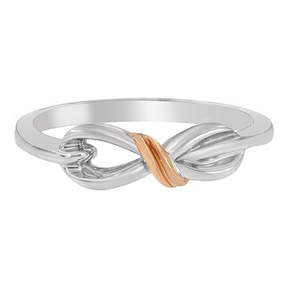 Rose Gold over Silver Ribbon-shaped Ring