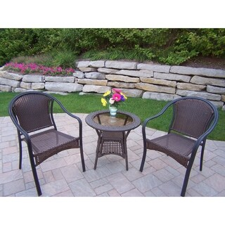 Sedona Wicker 3-Piece Bistro Set (2 Stackable Chairs and 1 Side Table)