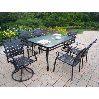 7 pc Dining Set with 60 inch table, 4 Stackable Chairs and 2 Swivels