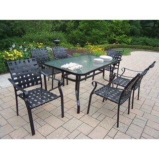 7-Piece 'Carson' Dining Set with 60-inch Table and 6 Stackable Chairs