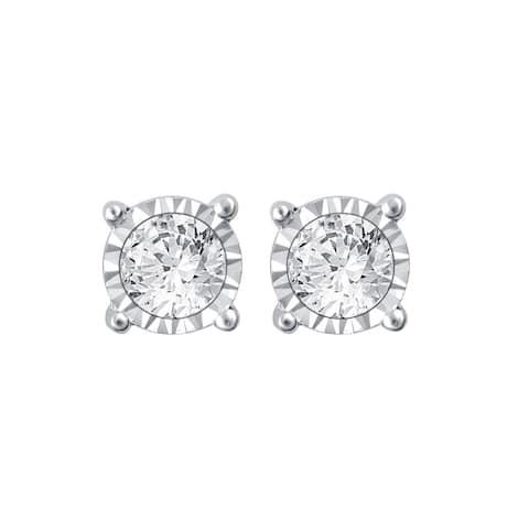 Divina Silver 1/10ct TDW Diamond Stud Earrings.