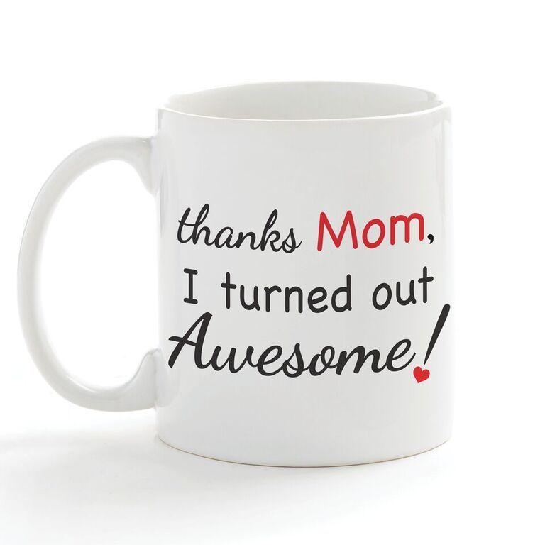 Thanks Mom Coffee Mug (one size/color), White (Ceramic)