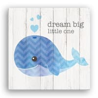 'Dream Big Little One' 16-inch x 16-inch Whale Canvas Wall Art