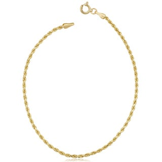 Fremada 10k Yellow Gold 1.8-mm Semi Solid Rope Chain Anklet (10 inches)