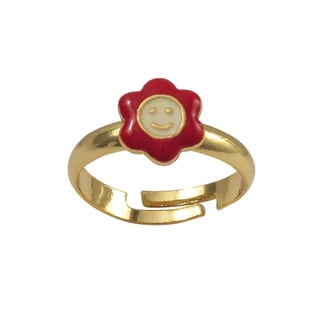 Luxiro Gold Finish Red Enamel Smiley Flower Adjustable Children's Ring