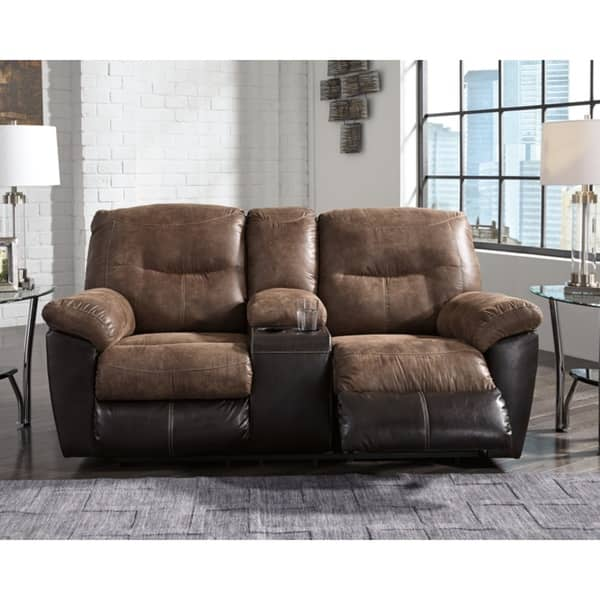 Pleasing Shop Follett Coffee Reclining Loveseat With Console Free Bralicious Painted Fabric Chair Ideas Braliciousco
