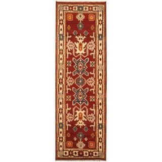 Herat Oriental Indo Hand-knotted Tribal Kazak Wool Runner (2'1 x 6'7)
